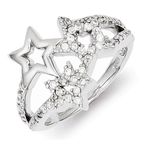 Sterling Silver Cubic Zirconia Three Stars Ring