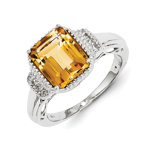 Sterling Silver 2.28 ct Rectangular Citrine White Topaz Ring