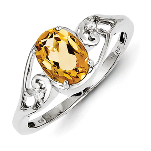 Sterling Silver Oval 1.26 ct Citrine and White Topaz Oval Ring