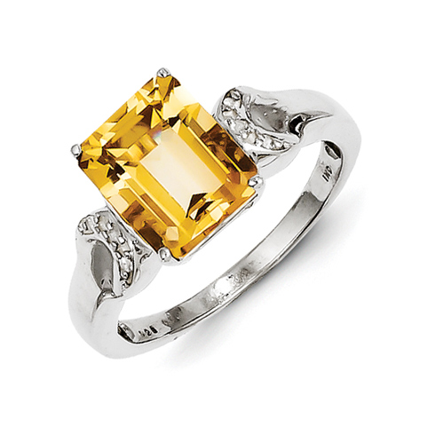 Sterling Silver 3.4 ct Citrine and White Topaz Rectangular Ring