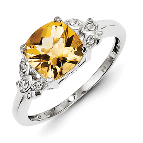 Sterling Silver 2.31 ct Citrine and White Topaz Ring