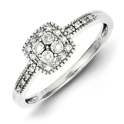 Sterling Silver 1/10ct Diamond Cluster Promise Ring