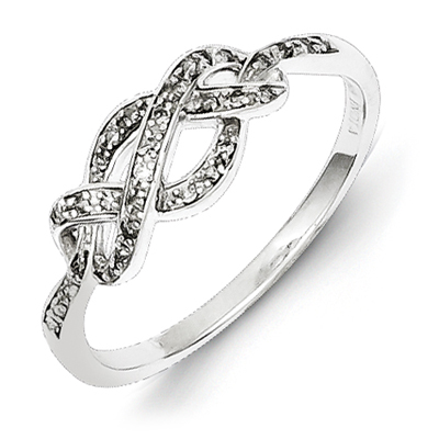 Sterling Silver 1/10ct Diamond Infinity Promise Ring