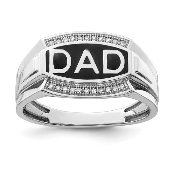 Sterling Silver Black Rhodium DAD Ring with Diamonds