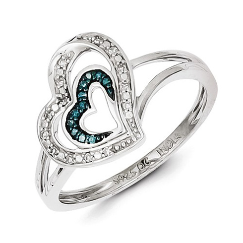Sterling Silver 1/15 ct Blue and White Diamond Ring