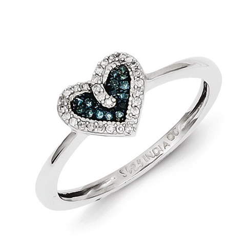 Sterling Silver 1/10 ct Blue and White Diamond Ring