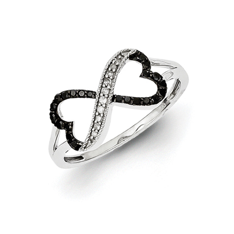 Sterling Silver Black and White Diamond Ring with Two Hearts