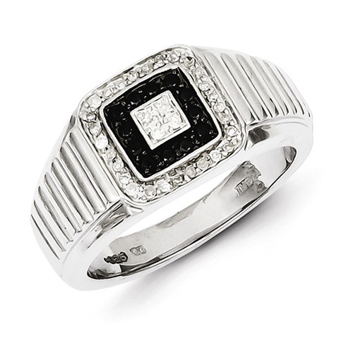Sterling Silver 3/8 ct Black and White Diamond Ring with Stepped Shank