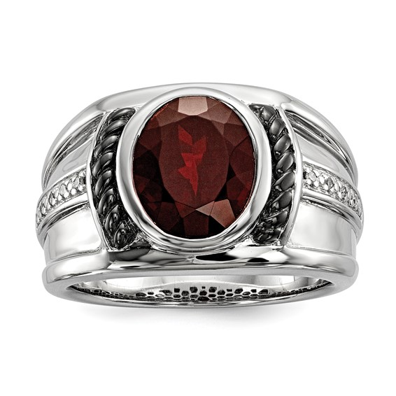 Sterling Silver 4 1/4 ct Garnet Ring with Diamonds