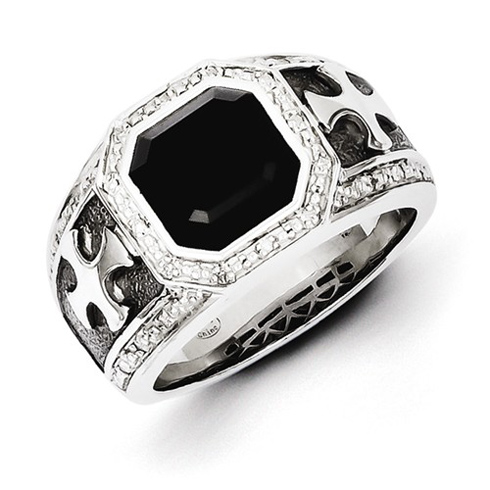 Sterling Silver Onyx Cross Men's Ring with Diamonds