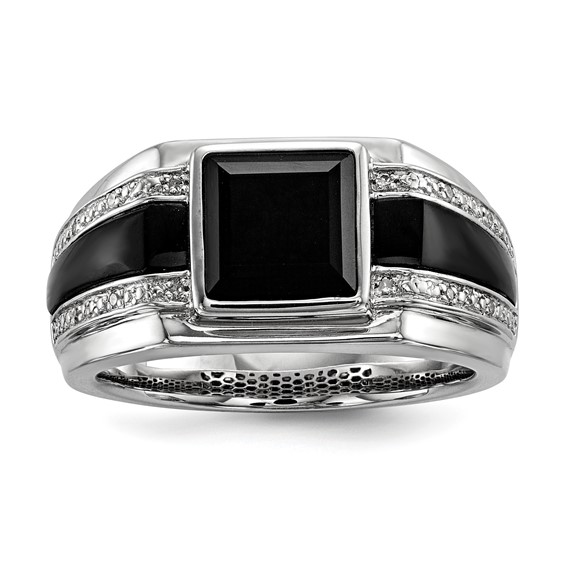 Sterling Silver Bezel Square Onyx Ring with 1/20 ct Diamonds