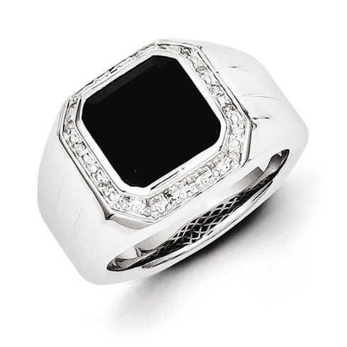 Sterling Silver Bezel Onyx Ring with 1/15 ct Diamonds