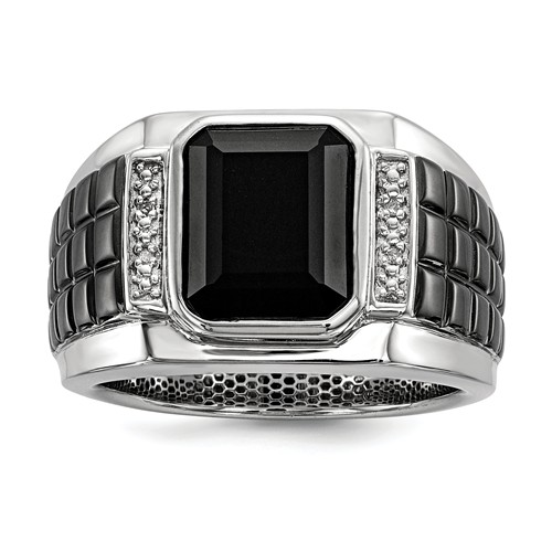 Sterling Silver Square Onyx Ring with Diamonds