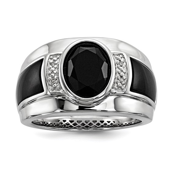 Sterling Silver Oval Onyx Ring with Diamonds