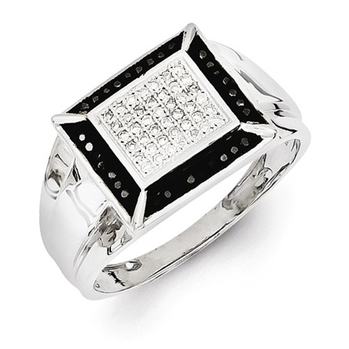 Sterling Silver 1/4 ct Black and White Diamond Men's Ring