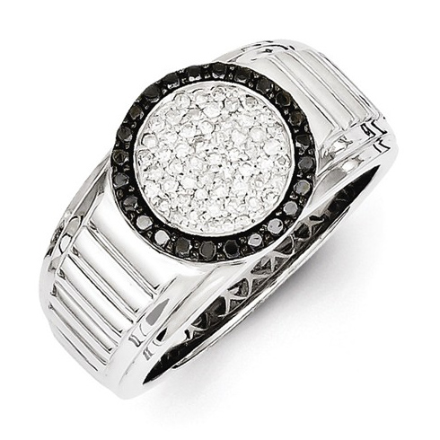 Sterling Silver 1/2 ct Black and White Diamond Circle Men's Ring