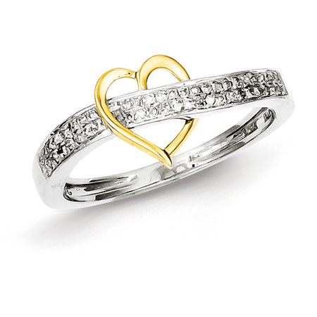 1/6ct Diamond Promise Ring with 14kt Gold Plated Heart