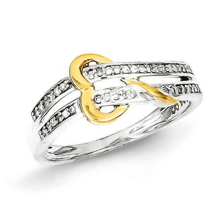 1/8ct Diamond Promise Ring with 14kt Gold Plated Heart