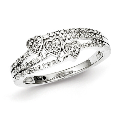 1/6ct Diamond Triple Heart Promise Ring
