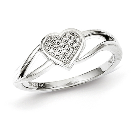 Sterling Silver 1/20ct Diamond Heart Promise Ring