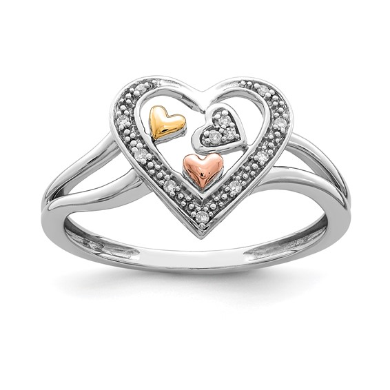 Sterling Silver 14K Yellow and Rose Gold Diamond Heart Ring