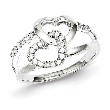 Sterling Silver 1/6 ct Diamond Hearts Promise Ring