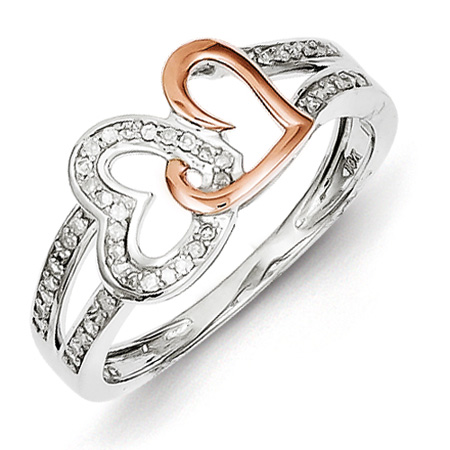 14kt Rose Gold Plated 1/6ct Diamond Heart Promise Ring