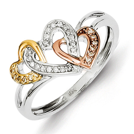 Sterling Silver 14K Yellow and Rose Gold 1/10ct Diamond Hearts Ring