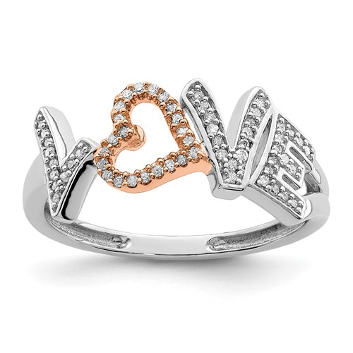 Rose Gold and Sterling Silver 1/6ct Diamond LOVE Promise Ring