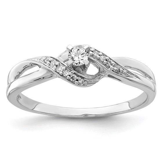Sterling Silver 1/8ct Diamond Bypass Promise Ring