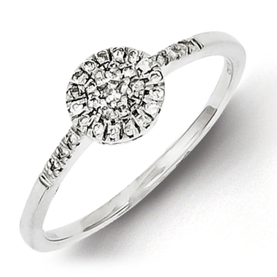 Sterling Silver 1/6ct Diamond Cluster Promise Ring