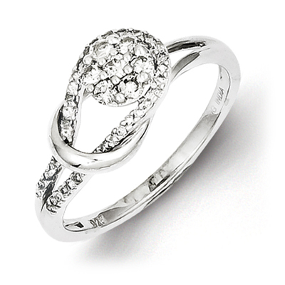 Sterling Silver 1/3ct Diamond Knot Promise Ring