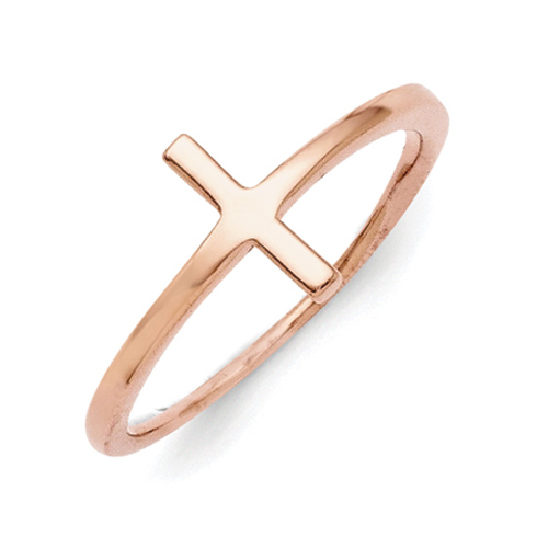 Rose Gold-Plated Sterling Silver Sideways Cross Ring