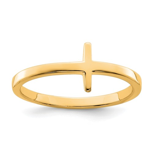 Gold-Plated Sterling Silver Sideways Cross Ring