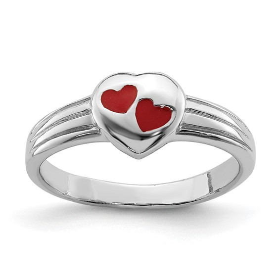Rhodium-plated Sterling Silver Child's Red Enameled Heart Ring