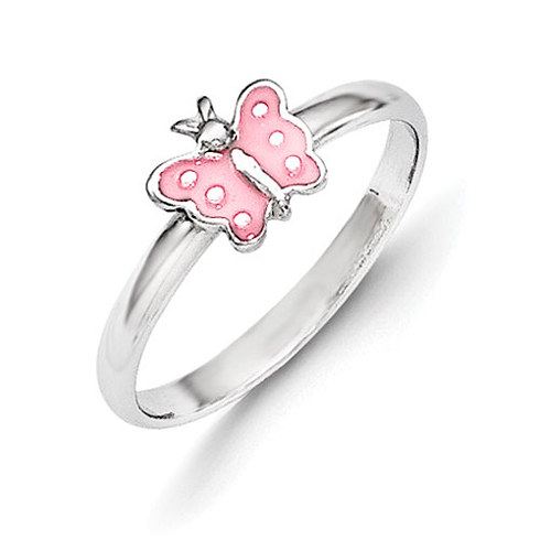 Rhodium Plated Sterling Silver Child's Pink Enameled Butterfly Ring