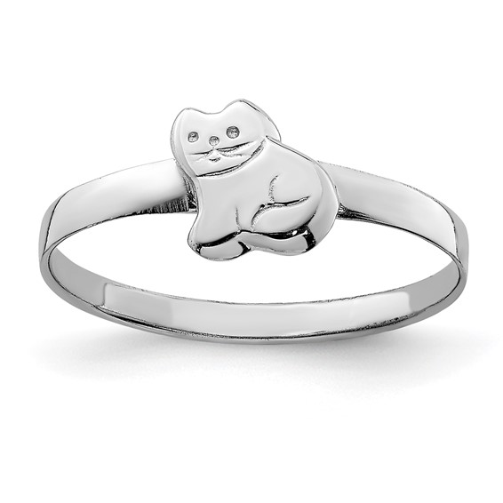 Rhodium-plated Sterling Silver Child's Polished Kitty Cat Ring