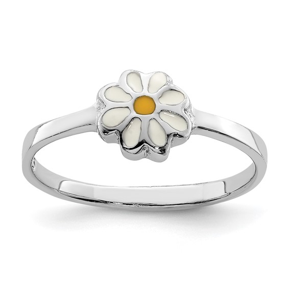 Rhodium-plated Sterling Silver Child's White and Yellow Enamel Daisy Ring