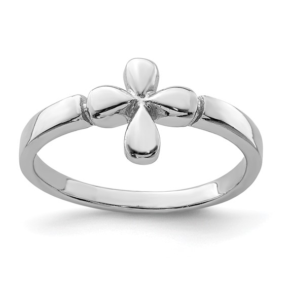 Rhodium Plated Sterling Silver Child's Cross Ring