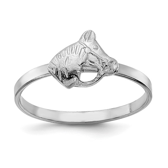 Rhodium-plated Sterling Silver Child's Horse Ring