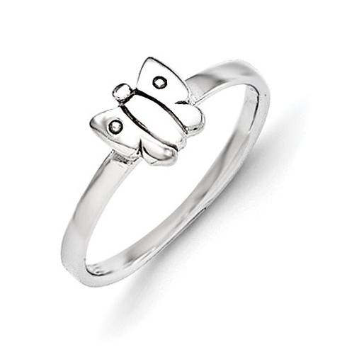 Rhodium Plated Sterling Silver Child's Polished Butterfly Ring