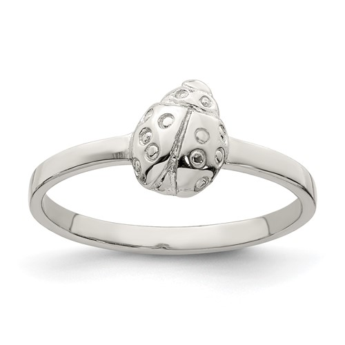 Rhodium-plated Sterling Silver Child's Polished Ladybug Ring