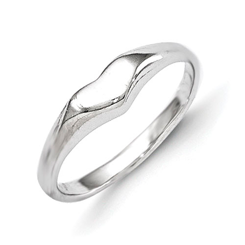 Rhodium-plated Sterling Silver Child's Heart Ring