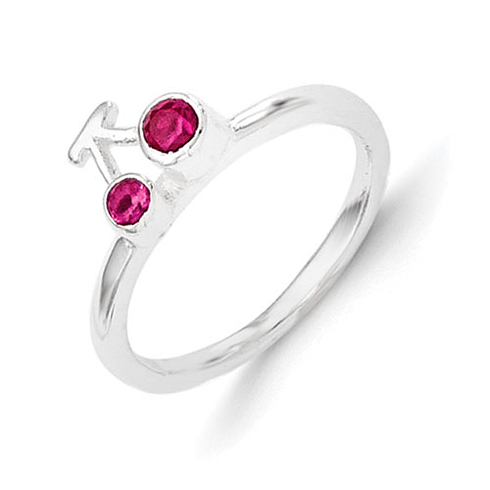 Sterling Silver Synthetic Ruby Cherry Kid's Ring