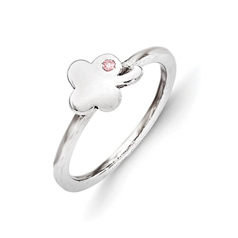 Sterling Silver Kid's Pink CZ Clover Ring