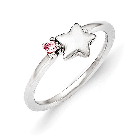 Sterling Silver Star Kid's Ring with Pink CZ