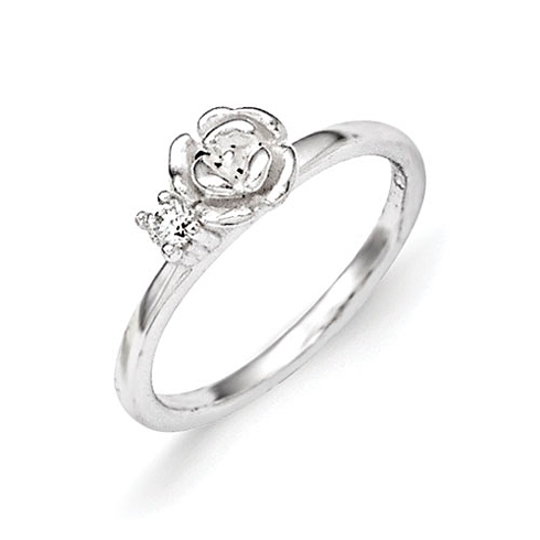 Sterling Silver Rose Flower Kid's Ring with CZ