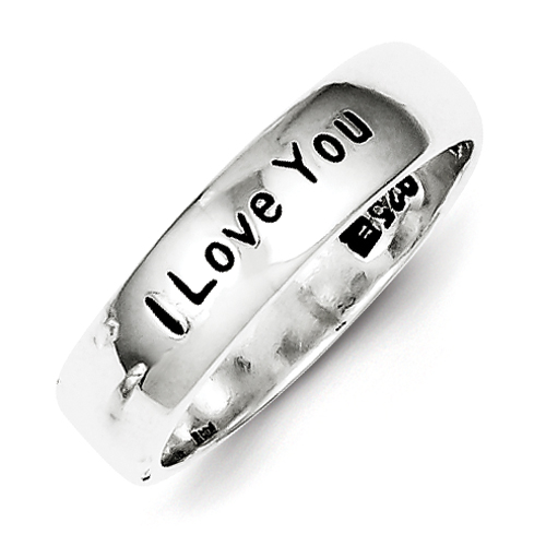 Size 8 Sterling Silver I Love You Ring