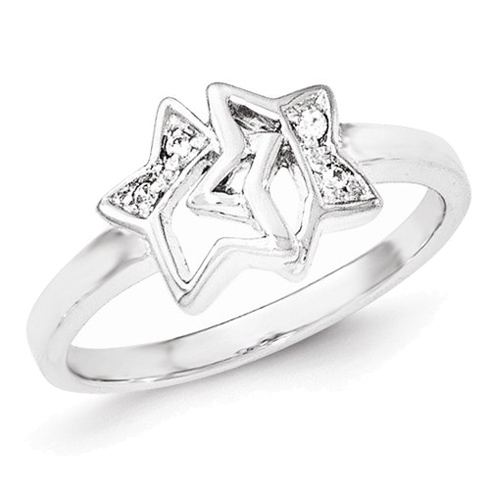 Sterling Silver Cubic Zirconia Bound Stars Ring