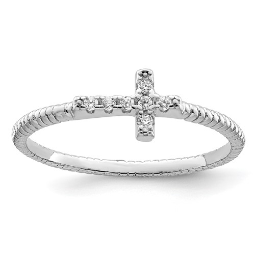 Sterling Silver Cubic Zirconia Mini Cross Ring